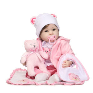 reborn doll with Crotchet hats